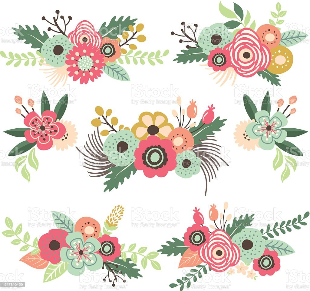 Vintage Flower Set Illustration Stock Vector Art & More ...