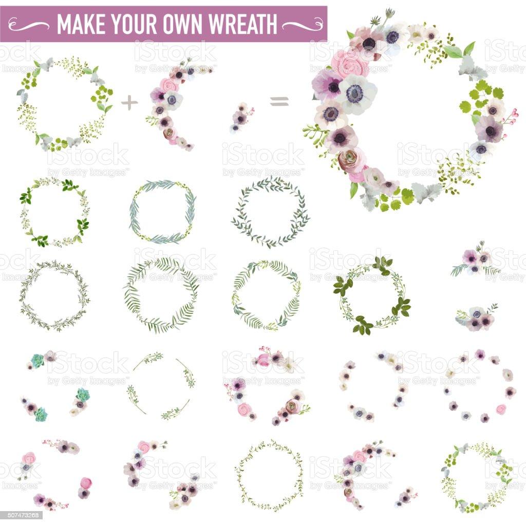 Jahrgang Blumen Kranz-Set-Aquarell-Stil – Vektorgrafik