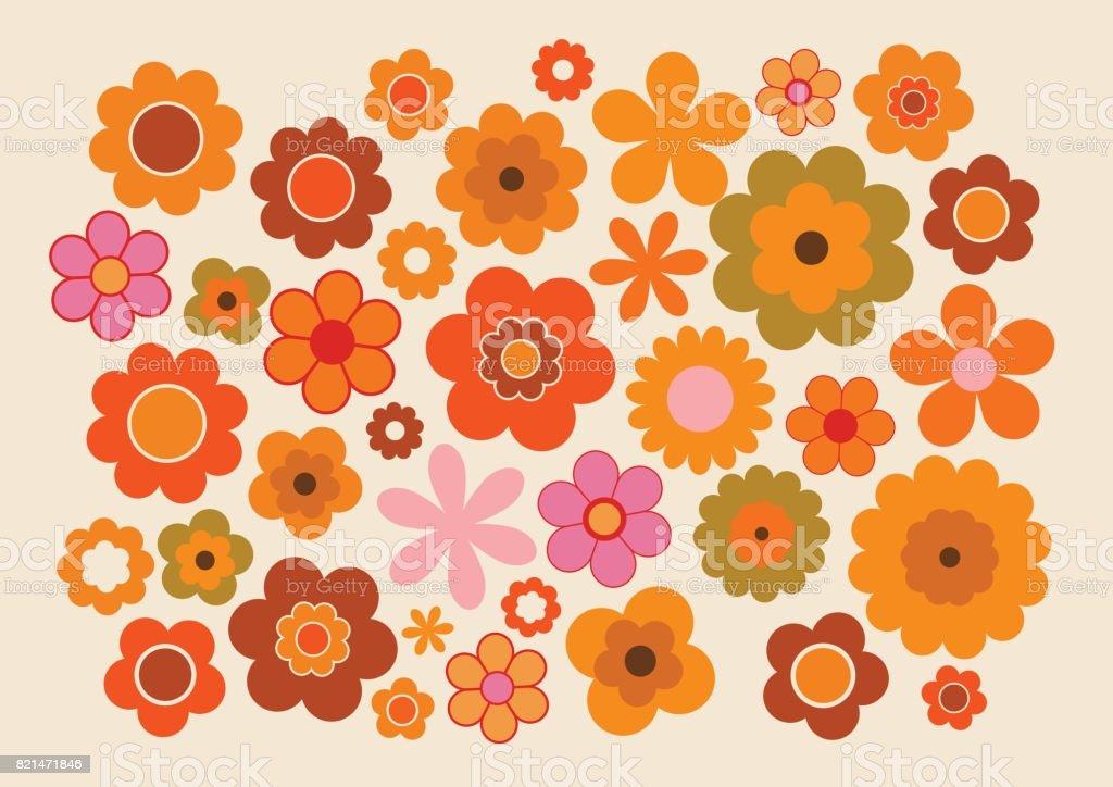 Vintage flores 1 - ilustração de arte em vetor