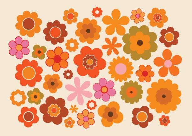 stockillustraties, clipart, cartoons en iconen met vintage bloemen 1 - seventies