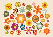 Vector illustration of the flowers design and colors during the sixties and seventies