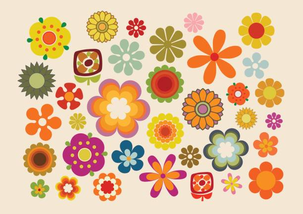 vintage flowers 2 - 1960s style stock illustrations, clip art, cartoons, & icons