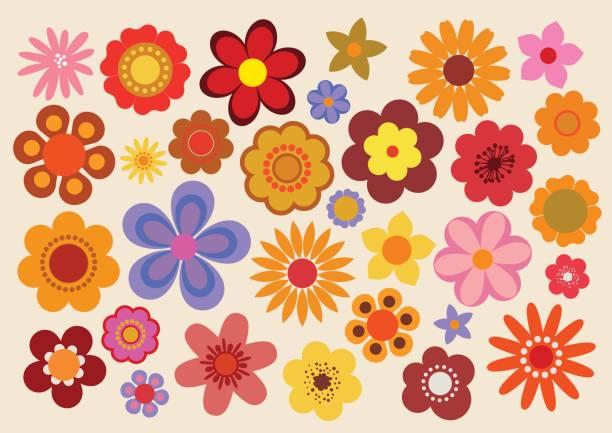 stockillustraties, clipart, cartoons en iconen met vintage bloemen 3 - seventies