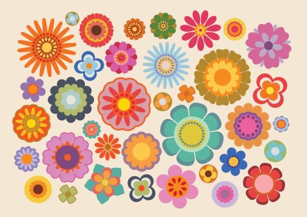 stockillustraties, clipart, cartoons en iconen met vintage bloemen 4 - hippie