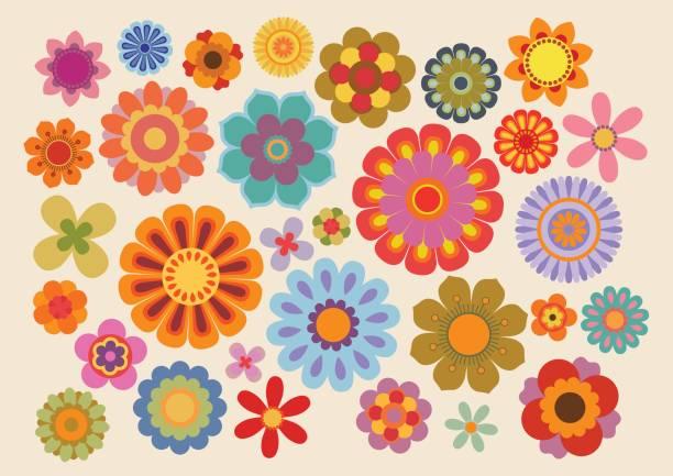 vintage flowers 5 - hippie fashion stock illustrations, clip art, cartoons, & icons