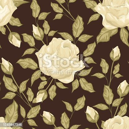 istock Vintage flowers and leaves. A bouquet of roses. Seamless patterns. Pastel colors 1283847346