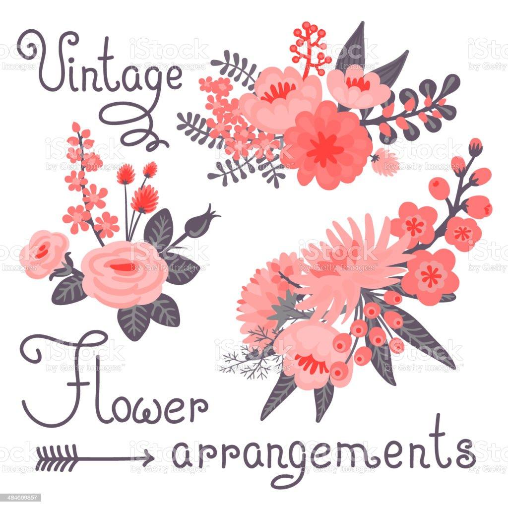 ビンテージ花 かわいい花デザイン いたずら書きのベクターアート素材や