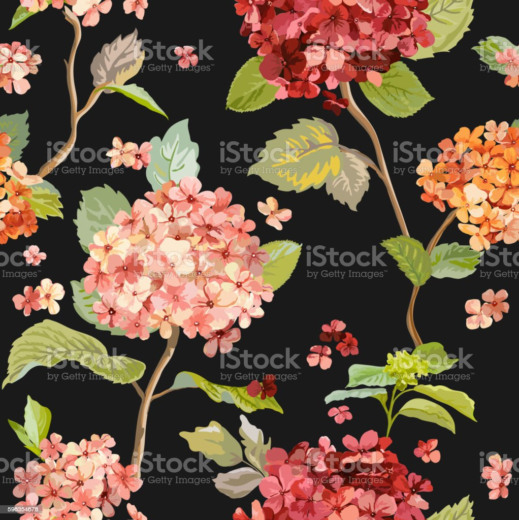 Vintage Flowers - Floral Hortensia Background - Seamless Pattern royalty-free vintage flowers floral hortensia background seamless pattern stock vector art & more images of backgrounds