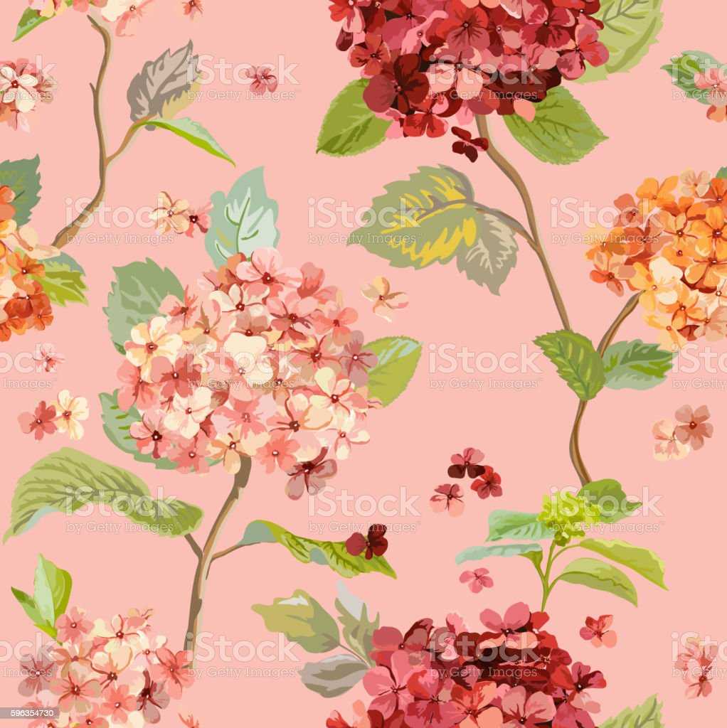 Vintage Flowers - Floral Hortensia Background - Seamless Pattern royalty-free vintage flowers floral hortensia background seamless pattern stock vector art & more images of autumn