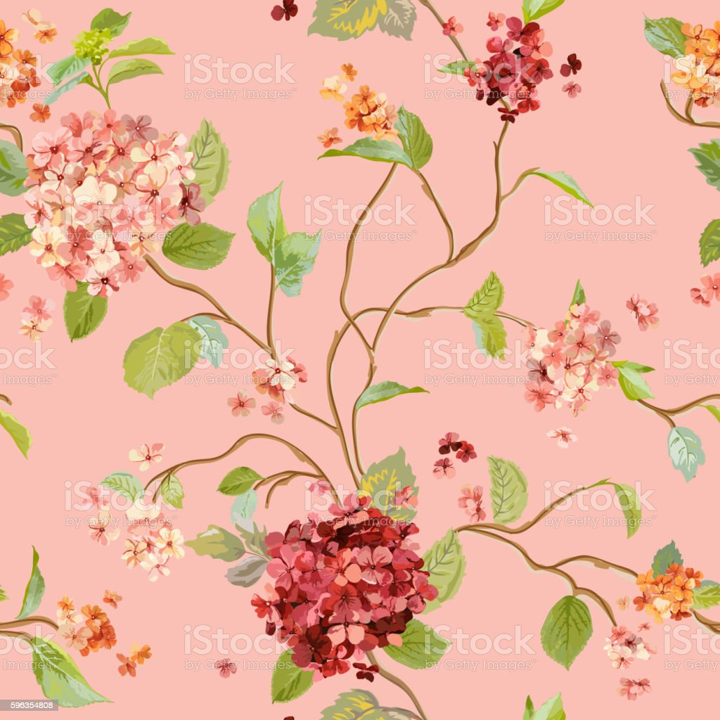 Vintage Flowers - Floral Hortensia Background - Seamless Pattern royalty-free vintage flowers floral hortensia background seamless pattern stock illustration - download image now