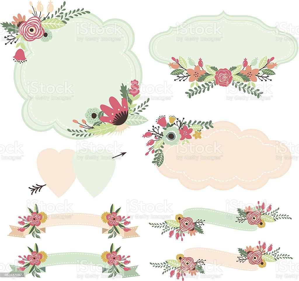 Ilustración de Flores Vintage Conjunto De Marcos Y Banners y más ...