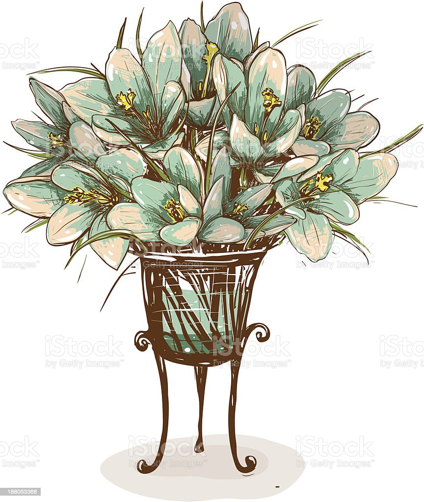 Vintage Flowers in Vase Composition royalty-free stock vector art