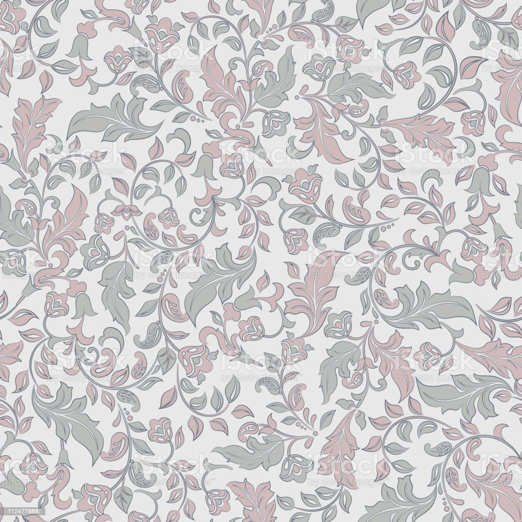 Vintage Flowers Seamless Pattern Floral Vector Background Stock