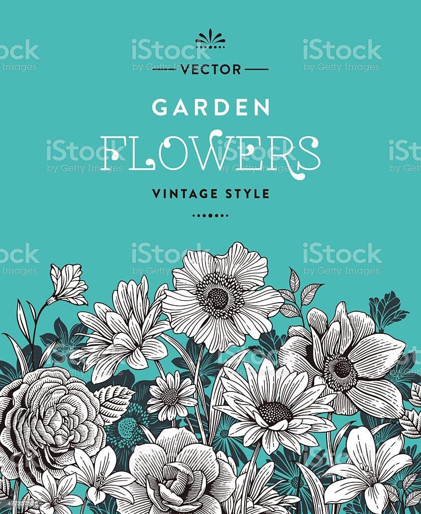 Vintage Flowers vector art illustration