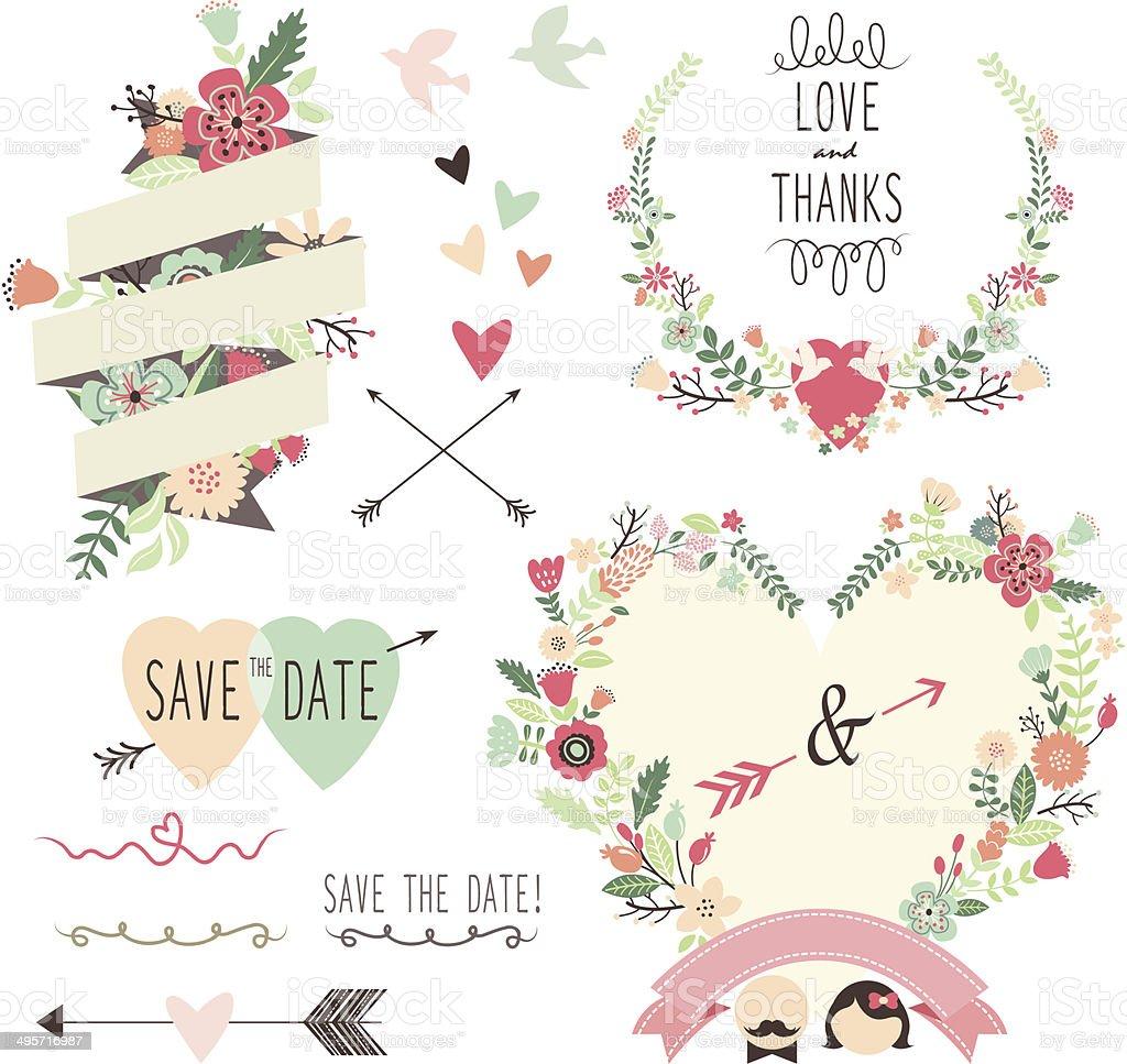Decorative Wedding Invitation Badge 7: Vintage Flowers Wedding Invitation Design Elements
