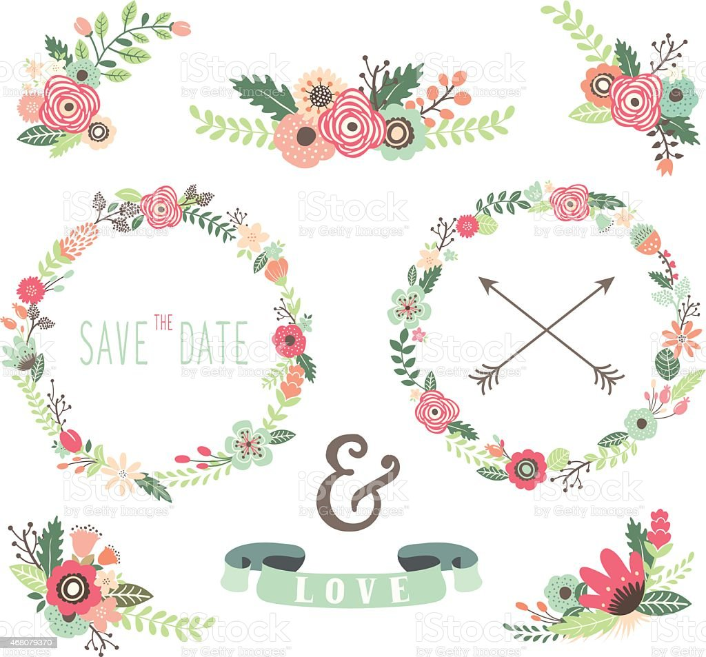 Vintage Flowers Wreath Elements Illustration stock vector ...
