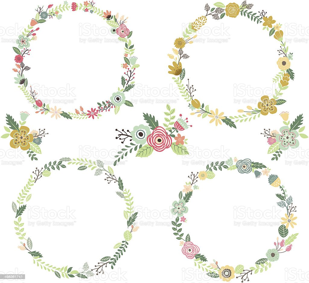 Vintage Flowers Wreath  Elements- illustration vector art illustration