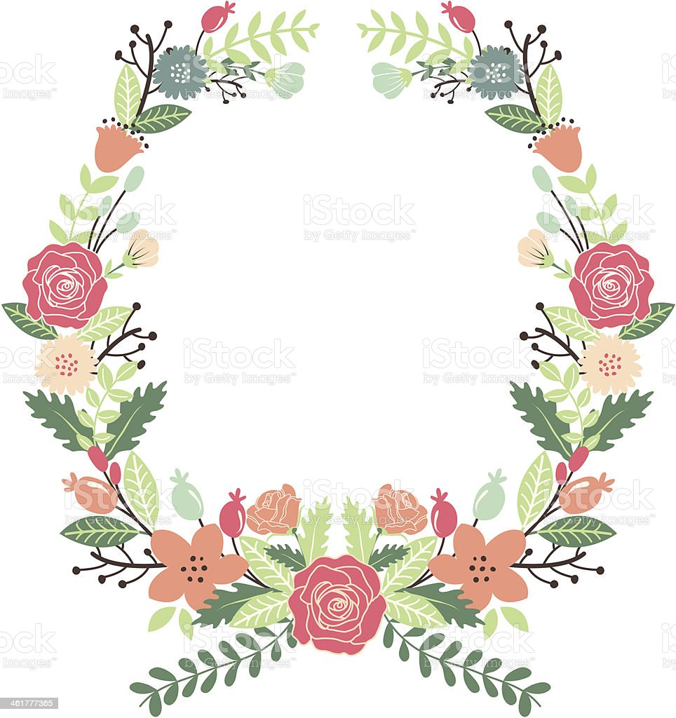 Vintage Flowers Wreath royalty-free vintage flowers wreath stock vector art & more images of backgrounds