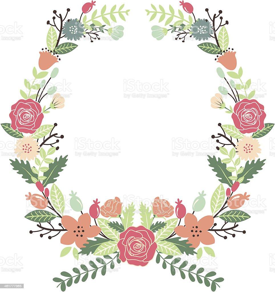 Ilustracion De Flores Vintage Corona Y Mas Vectores Libres De