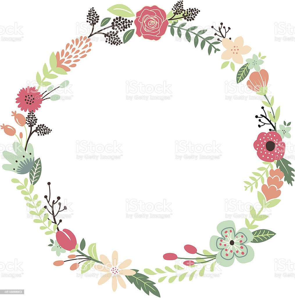 Vintage flowers wreath stock vector art more images of for Couronne shabby chic