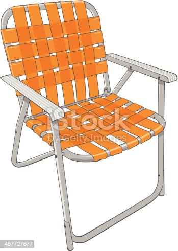 Vector of vintage style lawn chair with orange straps.