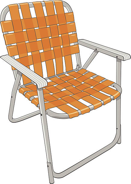 Vintage Folding Lawn Chair Vector of vintage style lawn chair with orange straps. outdoor chair stock illustrations