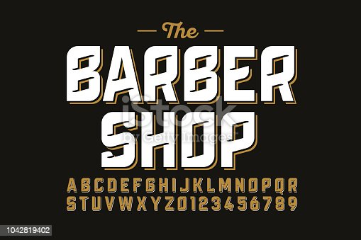 Vintage font design, barber shop style alphabet letters and numbers vector illustration