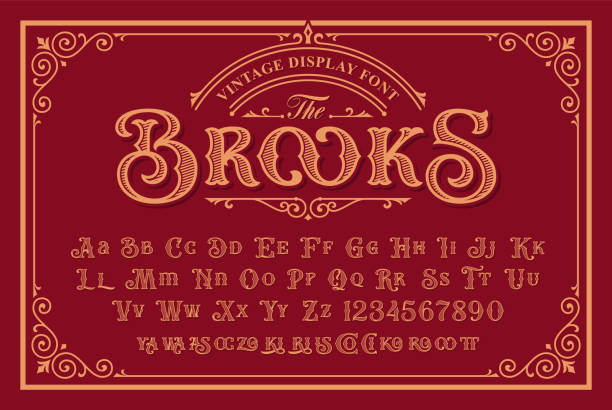 A Vintage Font in Victorian Style A Vintage Font with upper and lower case, numbers, and special ligatures as well. It is perfect for and packaging design, short phrases, or headlines. old fashioned stock illustrations