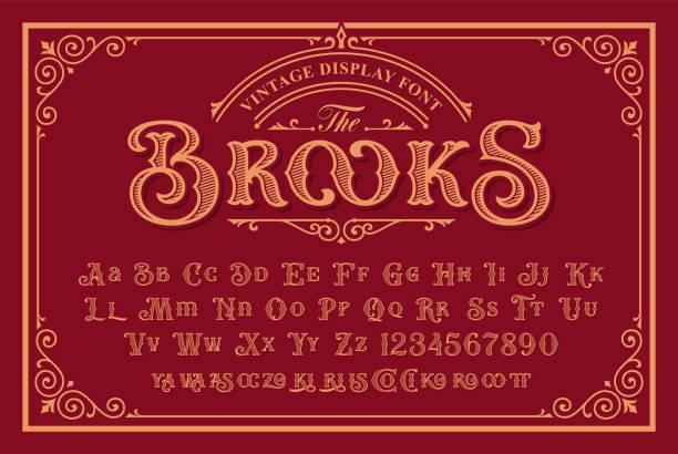 ilustraciones, imágenes clip art, dibujos animados e iconos de stock de una fuente vintage en estilo victoriano - font