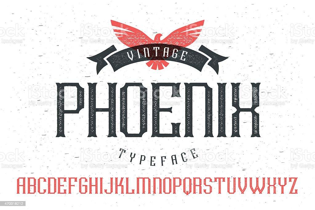 Vintage font 'Phoenix Typeface' vector art illustration