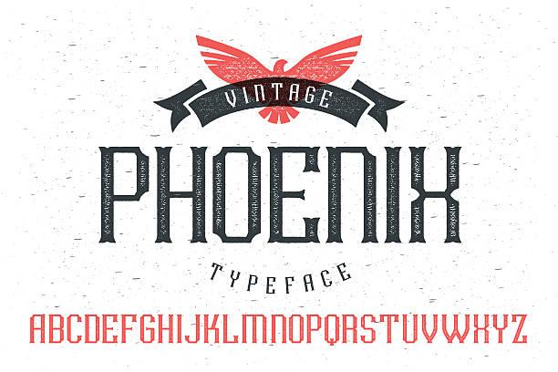 """illustrations, cliparts, dessins animés et icônes de vintage police de caractères """""""" de phoenix - polices de tatouage"""