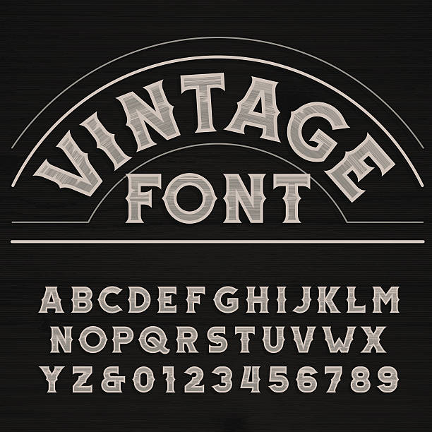 Vintage font. Retro alphabet. vector art illustration