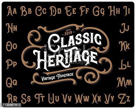 Vintage font set named
