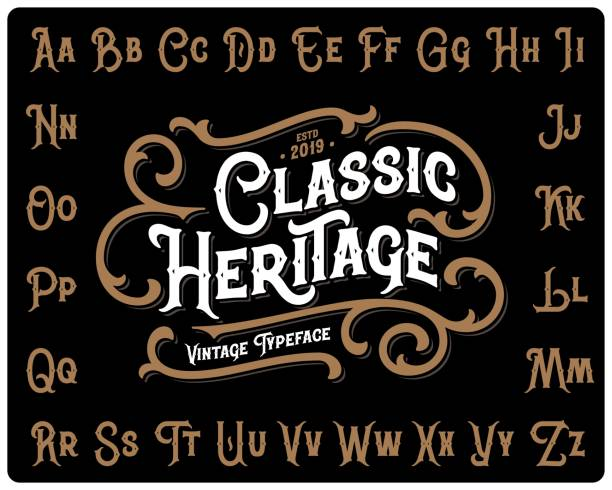 "ilustrações de stock, clip art, desenhos animados e ícones de vintage font set named ""classic heritage"" with decorative ornate on black background - vintage"