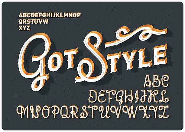 Vintage font set vector art illustration