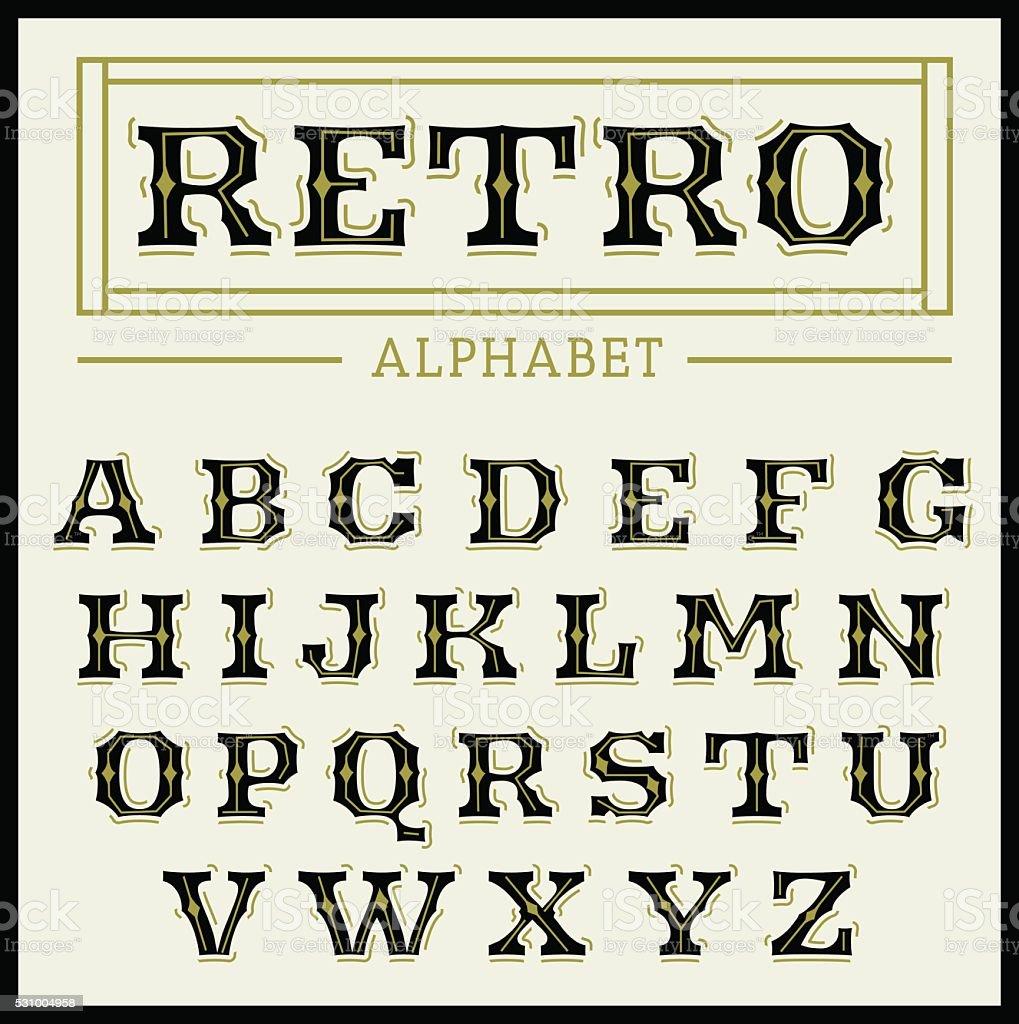 Vintage font set vector art illustration