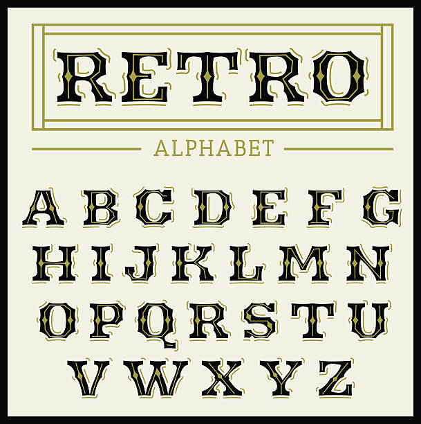 vintage font set - 1920s style stock illustrations, clip art, cartoons, & icons