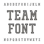 Vintage Font. Slab Serif Retro Typeface. University Team Style Latin Alphabet. Vector.
