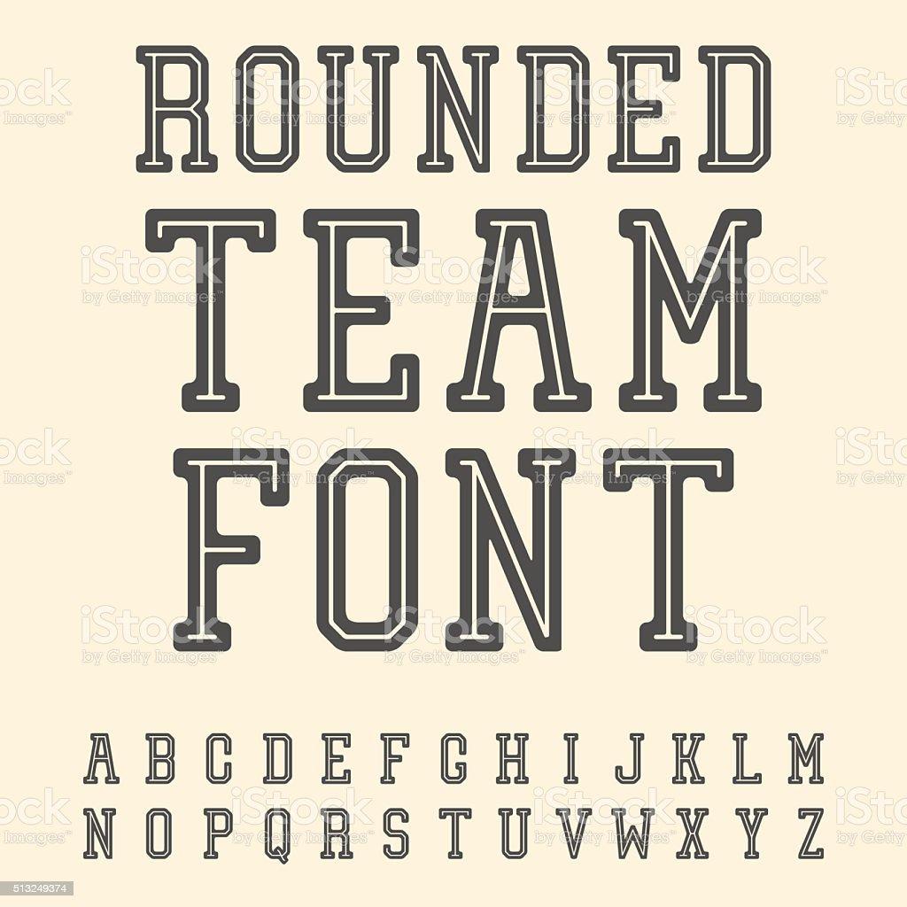 Vintage Font. Slab Serif Retro Typeface. University Team Style L vector art illustration