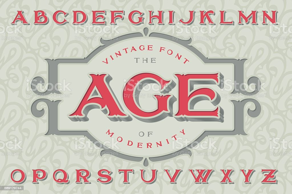 "Vintage font ""The Age of Modernity""."