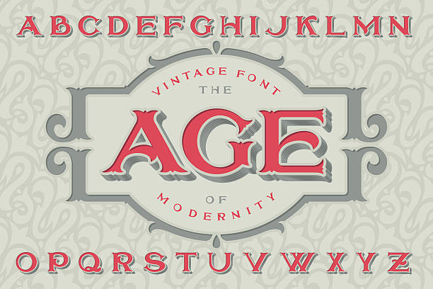"""Vintage font """"The Age of Modernity"""". Vintage font """"The Age of Modernity"""". Stylish retro art-nouveau typeface with engraved technique embossing. With decorative ornate frame. alphabet patterns stock illustrations"""