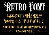 Vector retro alphabet. Vintage font. Typography for labels, headlines, posters etc.