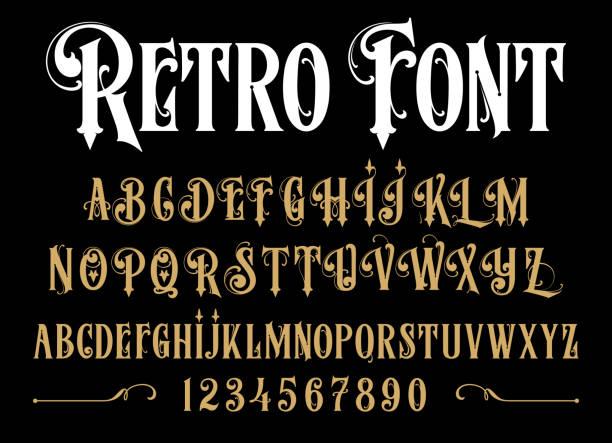 illustrazioni stock, clip art, cartoni animati e icone di tendenza di font vintage. - antico vecchio stile