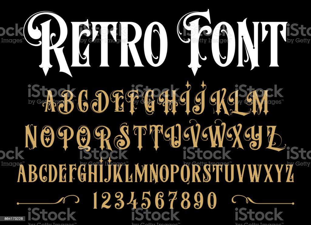 Vintage font. vector art illustration