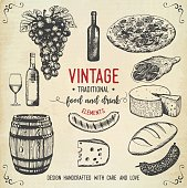 Vintage food and drink icons