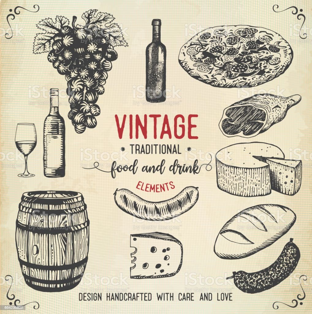 Vintage food and drink icons vector art illustration