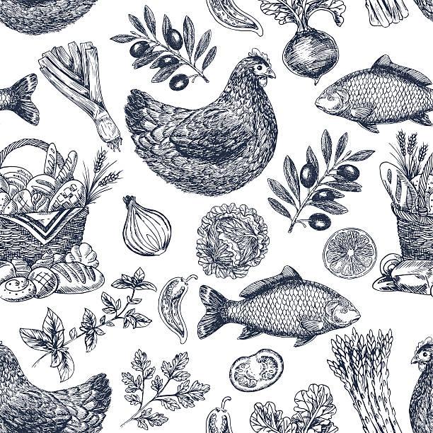 vintage essen hintergrund. verschiedene speisen. vektor-illustration - retroküchen stock-grafiken, -clipart, -cartoons und -symbole