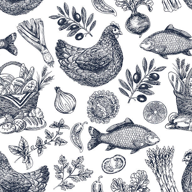 Vintage food background. Different kinds of food. Vector illustration EPS 8 bread drawings stock illustrations