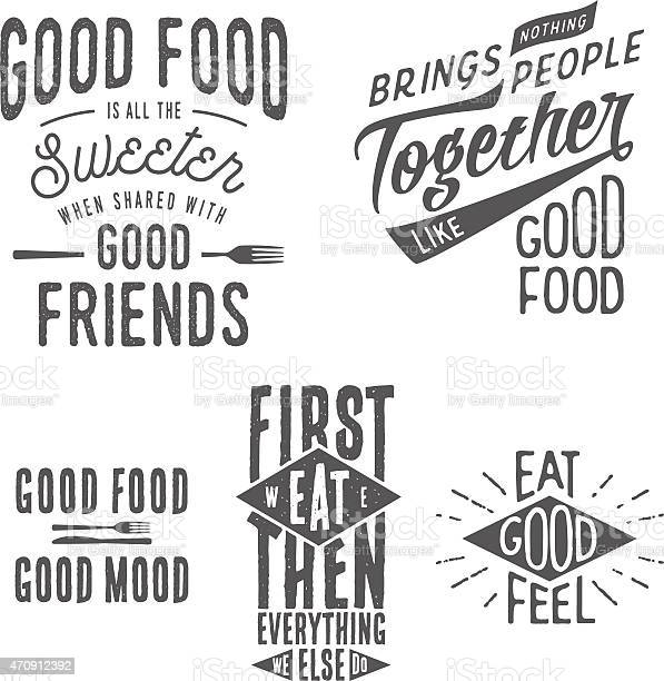 Vintage Food Related Typographic Quotes Stock Illustration - Download Image Now