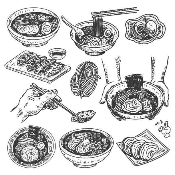 ヴィンテージフードスケッチ、手描き日本ラーメンメニュー、ベクター - ラーメン点のイラスト素材/クリップアート素材/マンガ素材/アイコン素材